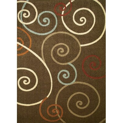 Chester Brown Scroll Area Rug Rug Size: 33 x 47
