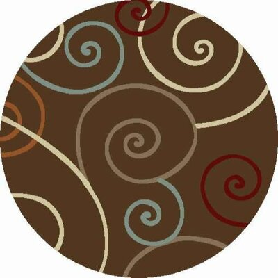 Chester Brown Scroll Area Rug Rug Size: Round 710