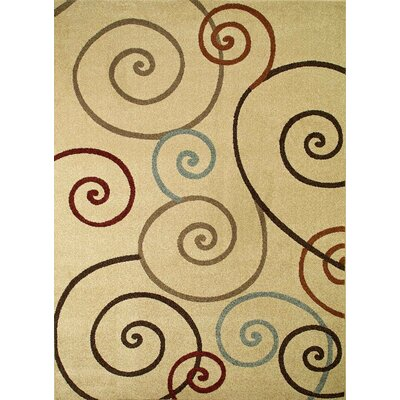 Chester Ivory Scroll Area Rug Rug Size: Round 710