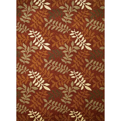 Chester Red Leafs Area Rug Rug Size: 53 x 73