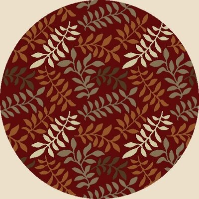 Chester Red Leafs Area Rug Rug Size: Round 53