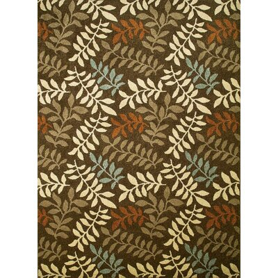 Chester Brown Leafs Area Rug Rug Size: 53 x 73