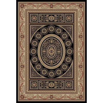 Jewel Aubusson Black Area Rug Rug Size: 53 x 77