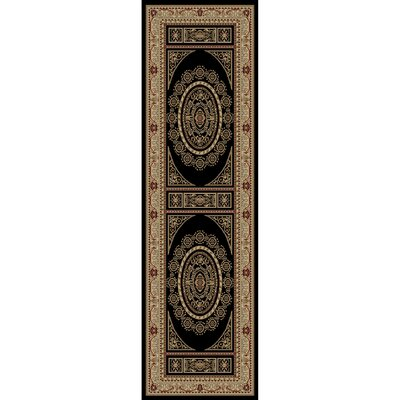 Jewel Aubusson Black Area Rug Rug Size: Runner 23 x 77