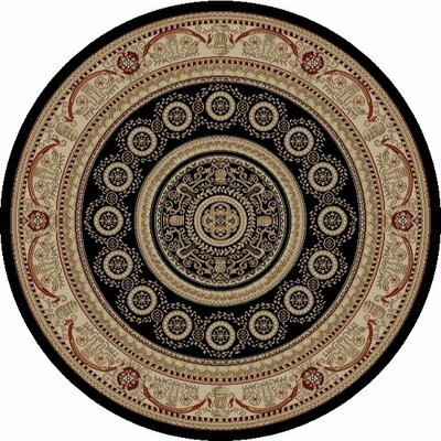 Jewel Aubusson Black Area Rug Rug Size: Round 53