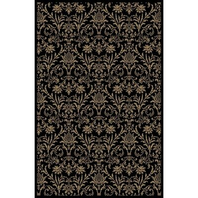 Jewel Damask Black Area Rug Rug Size: Rectangle 93 x 126