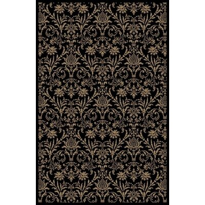 Jewel Damask Black Area Rug Rug Size: 53 x 77