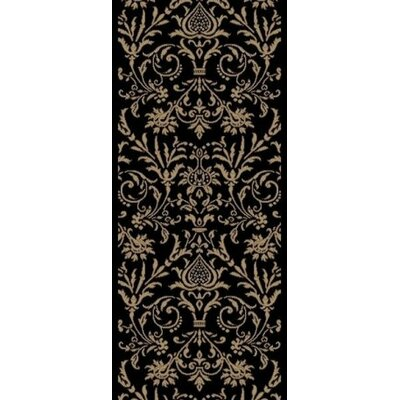 Jewel Damask Black Area Rug Rug Size: Runner 23 x 77