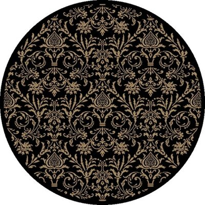 Jewel Damask Black Area Rug Rug Size: Round 53