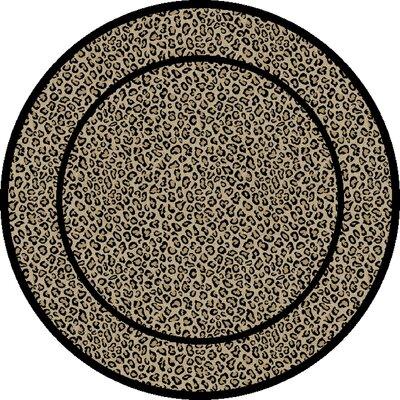 Jewel Leopard Beige Area Rug Rug Size: Round 53