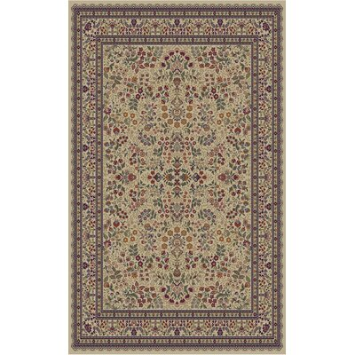 Jewel Sarouk Ivory Area Rug Rug Size: Rectangle 93 x 126