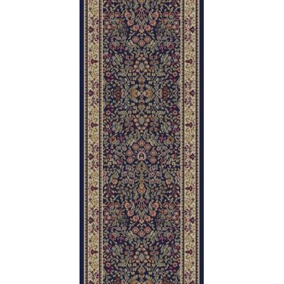Jewel Sarouk Navy Area Rug Rug Size: Runner 23 x 77
