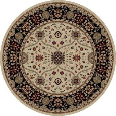 Jewel Voysey Ivory Floral Area Rug Rug Size: Round 53