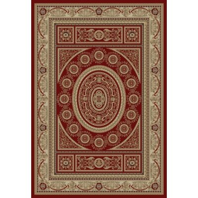 Jewel Aubusson Red Area Rug Rug Size: Rectangle 93 x 126