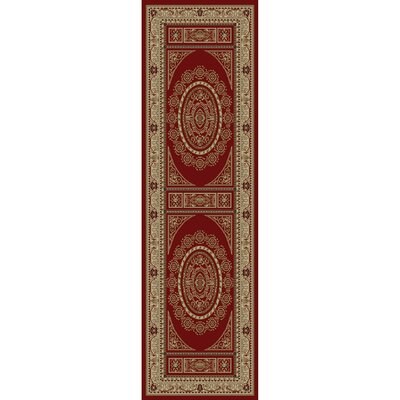 Jewel Aubusson Red Area Rug Rug Size: Runner 23 x 77