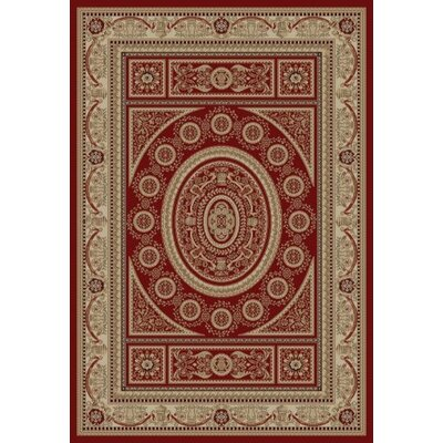 Jewel Aubusson Red Area Rug Rug Size: 53 x 77