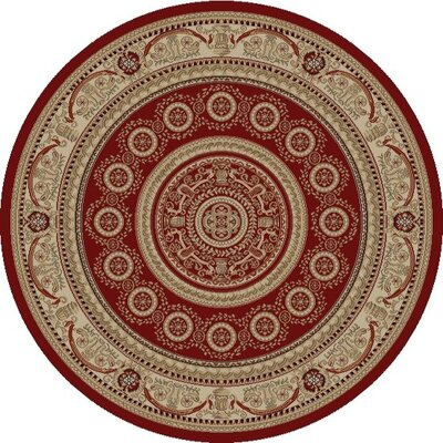 Jewel Aubusson Red Area Rug Rug Size: Round 53