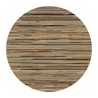 Jewel Striation Gold Stripes Area Rug Rug Size: Round 53