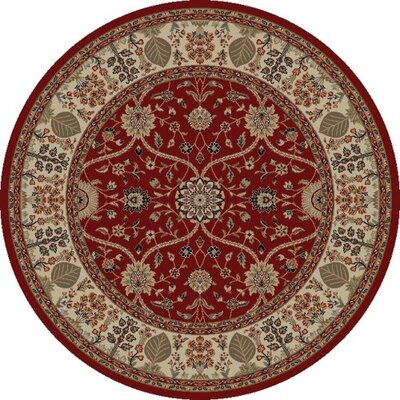 Jewel Voysey Red Floral Area Rug Rug Size: Round 53