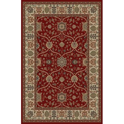 Jewel Voysey Red Floral Area Rug Rug Size: 53 x 77
