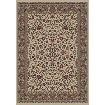Jewel Kashan Ivory Area Rug Rug Size: Rectangle 53 x 77