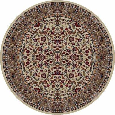 Jewel Kashan Ivory Area Rug Rug Size: Round 53