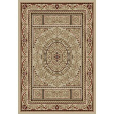 Jewel Aubusson Ivory Area Rug Rug Size: Rectangle 93 x 126