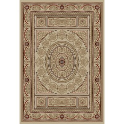 Jewel Aubusson Ivory Area Rug Rug Size: 53 x 77