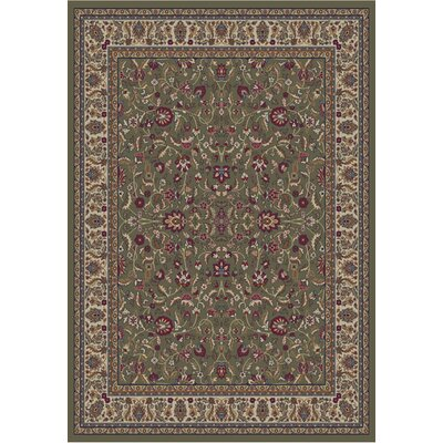 Jewel Kashan Green Area Rug Rug Size: 53 x 77