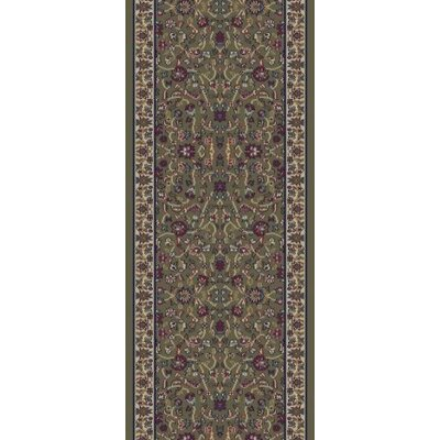 Jewel Kashan Green Area Rug Rug Size: Runner 23 x 77