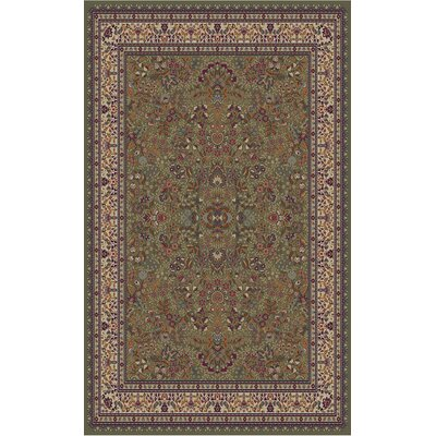 Jewel Sarouk Green Area Rug Rug Size: 53 x 77