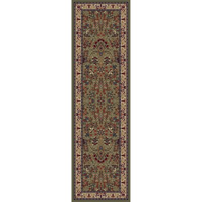 Jewel Sarouk Green Area Rug Rug Size: Runner 2'3