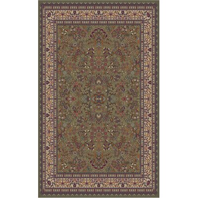 Jewel Sarouk Green Area Rug Rug Size: 53 x 77