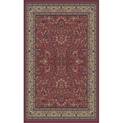 Jewel Sarouk Red Floral Area Rug Rug Size: 53 x 77