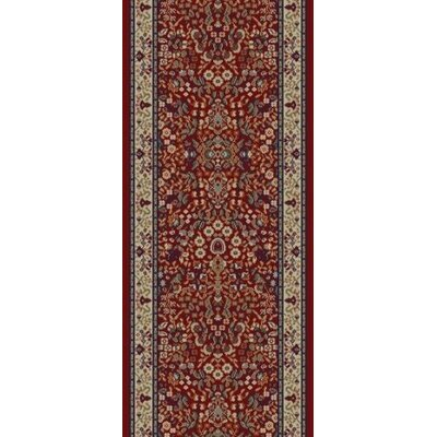 Jewel Sarouk Red Floral Area Rug Rug Size: Runner 23 x 77