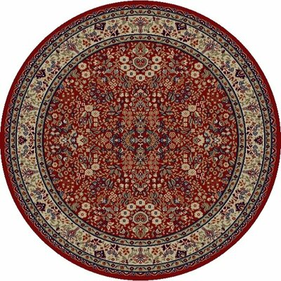 Jewel Sarouk Red Floral Area Rug Rug Size: Round 53