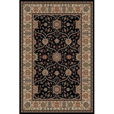 Jewel Voysey Black Floral Area Rug Rug Size: 53 x 77