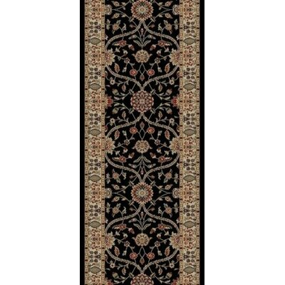 Jewel Voysey Black Floral Area Rug Rug Size: Runner 23 x 77