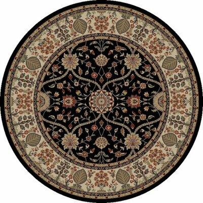 Jewel Voysey Black Floral Area Rug Rug Size: Round 53