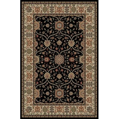 Jewel Voysey Black Floral Area Rug Rug Size: 93 x 126
