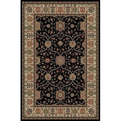 Jewel Voysey Black Floral Area Rug Rug Size: 710 x 910