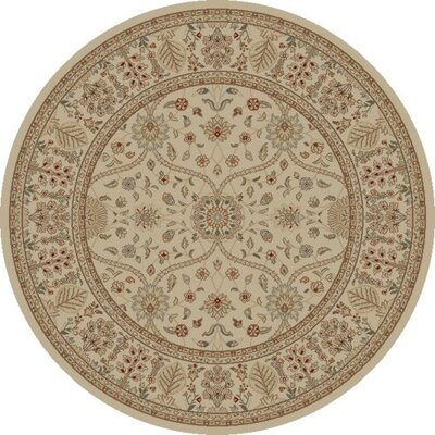 Jewel Voysey Ivory/Tonel Floral Area Rug Rug Size: Round 53