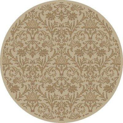Jewel Damask Ivory Area Rug Rug Size: Round 53