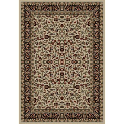 Jewel Kashan Ivory/Black Area Rug Rug Size: Rectangle 53 x 77