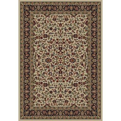 Jewel Kashan Ivory/Black Area Rug Rug Size: 710 x 910