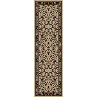 Jewel Kashan Ivory/Black Area Rug Rug Size: Runner 23 x 77