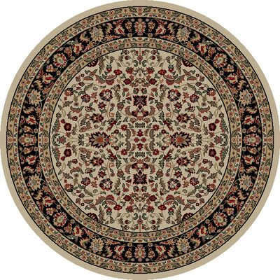 Jewel Kashan Ivory/Black Area Rug Rug Size: Round 53