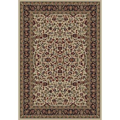 Jewel Kashan Ivory/Black Area Rug Rug Size: 93 x 126