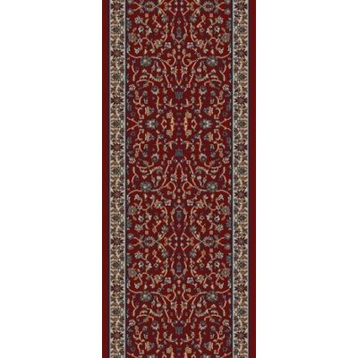 Jewel Kashan Red Area Rug Rug Size: Runner 23 x 77