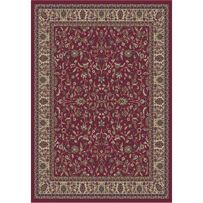 Jewel Kashan Red Area Rug Rug Size: 93 x 126